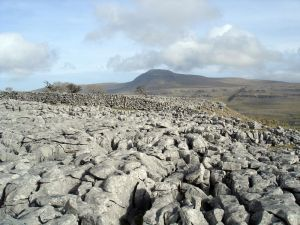 Limestone Pavement and Ingleborough, one of the Yorkshire 3 Peaks